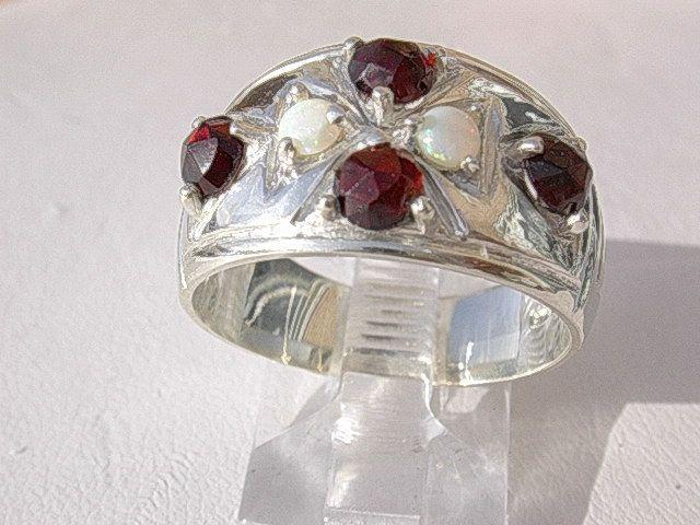 Sterling Multi Garnet/Opal Ladies Ring Band
