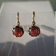 14kt Yellow Gold Artisan Almandine Garnet/Diamond Dangle Earring - French Wire Closure