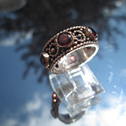 Sterling/9kt Pink Gold Multi Garnet Fancy Band/Ring