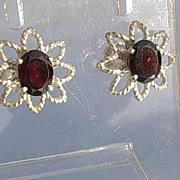 Sterling Garnet Exotic Floral Stud Earrings