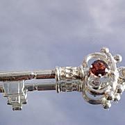 Vibrant Garnet Sterling Key Pendant with Chain