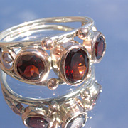 Sterling/9kt Gold Triple Garnet Ladies Ring