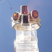 Sterling Four Red Garnet Stacking Rings