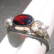 Sterling/9kt Pink Gold Garnet/Seed Pearl Ladies Ring