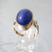 SOLD 9kt Pink Gold Elongated Oval Royal Blue Lapis Lazuli Ladies Ring