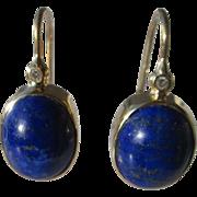 14kt Yellow Gold Rich Blue Lapis Lazuli Cabochon Cut Bezel Set and Diamond Dangle Earrings - P