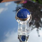 Sterling/9kt Wide Pear Shape Lapis Lazuli Ladies Ring
