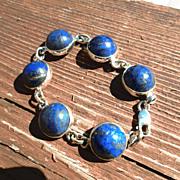 Sterling Round Navy Blue Cabochon Lapis Lazuli Ladies Bracelet