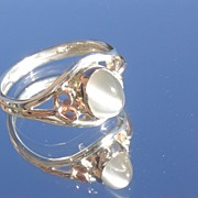 Sterling/9kt Pink Gold Oval Grey Moonstone Ladies Ring