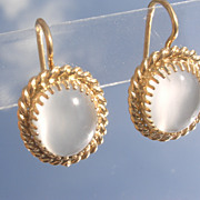 Sterling/Vermeil Moonstone Dangle Earrings