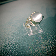 9kt Yellow Gold Magical Glowing Grey Round Moonstone Ladies Ring