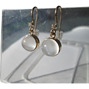 9kt Yellow Gold Dangling Round Grey Moonstone/Diamond Artisan Earring French Wire Closure