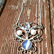 Sterling Silver Double Moonstone and Freshwater Pearl Pendant/Chain