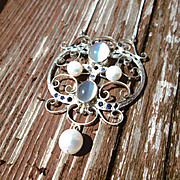 Sterling Silver Multi Moonstone/Sapphire/Freshwater Pearl  Pendant with Chain