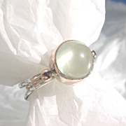 Sterling/9kt Pink Gold Light Grey Spherical Moonstone Ladies Ring
