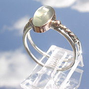 Sterling/9kt Oval Moonstone Ring