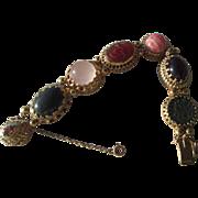 Sterling Silver/Vermeil Finish Artisan Vintage Inspired Multi Gemstone Slide Bracelet