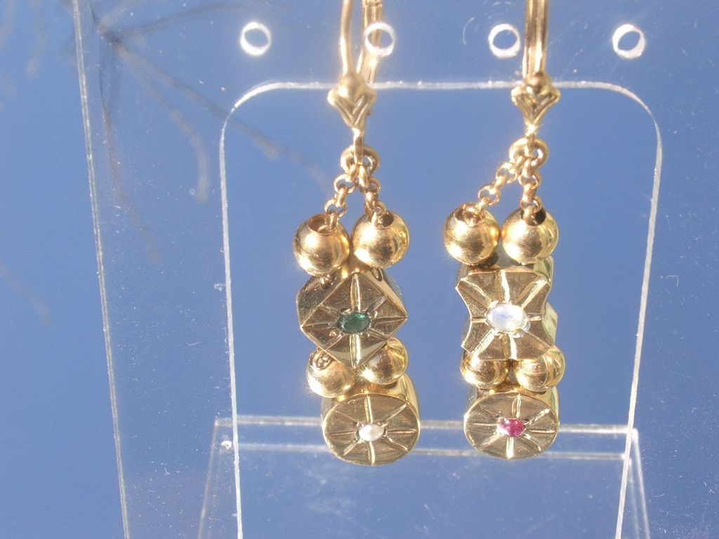 Sterling Vermeil Finish Emerald/Pearl/Opal/Ruby Slide Dangle Earring