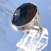 Sterling Dome Facet Black Onyx Ladies Ring