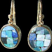 9kt Yellow Gold Oval Mosaic Opal Dangle Earrings