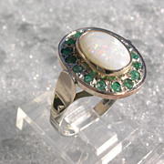 SOLD Sterling/9kt Yellow and Pink Gold Fiery Opal and Multi Emerald Ladies Ring - Red Tag Sale