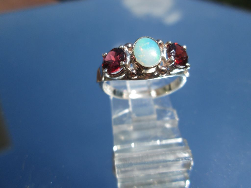 Sterling/9ct Pink Gold Opal/Garnet Ladies Ring