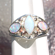 Sterling/9kt Pink  Gold Fiery /Rainbow Triple Opal Ladies Ring