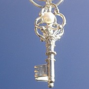 Sterling  Fresh Water Pearl Key Pendant with Chain