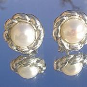 Sterling Freshwater Pearl Floral Stud Earrings