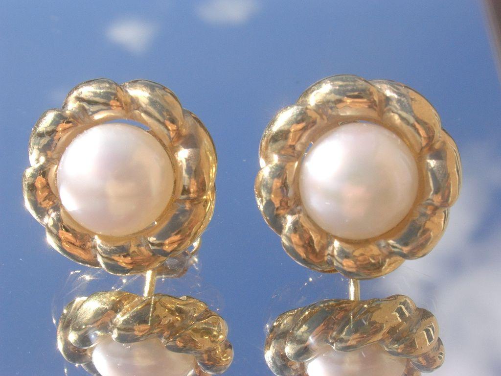 Sterling/Vermeil Finish Freshwater Pearl Stud Earrings