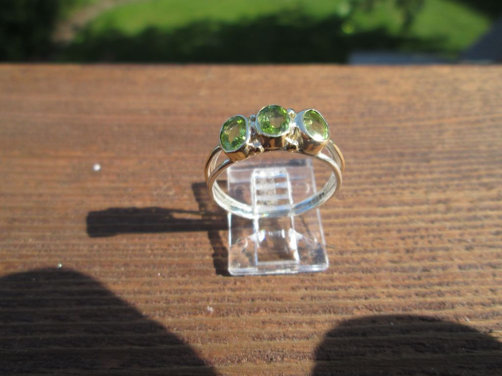Sterling/9kt Yellow Gold Lime Green Triple Peridot Ladies Ring