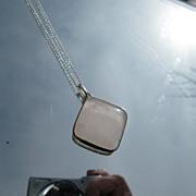 Sterling Diamond Shape Rose Quartz Pendant with Chain