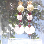 14kt  Culture Pearl/Garnet/Rose Quartz Dangle Earrings