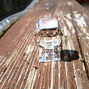 Sterling/9kt Pink Gold Cushion Cut Light Pink Rose Quartz and Diamond Ladies Ring
