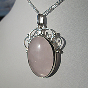 "Sterling Silver Oval Pink ""Frosty"" Rose Quartz Pendant with Necklace"