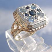 Sterling/9kt Pink Gold Multi Sapphire/Aquamarine Unisex Ring
