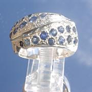 Sterling Multi Sapphire/Diamond Unisex Ring
