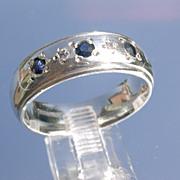 Sterling Multi Sapphire & Diamond Unisex Band