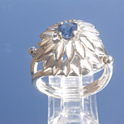 Sterling Sapphire Floral Design Ladies Ring