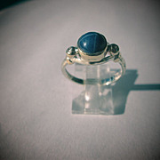 Sterling Silver/9kt Yellow Gold Cabochon Linde Star Sapphire/Diamond Ladies Ring