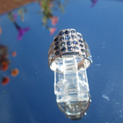 Sterling Two Tier Multi Sapphire Ladies Ring