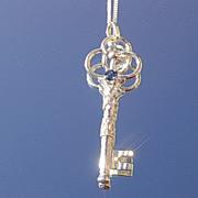 Silver  Sapphire Key Tri Circular Pendant with Chain