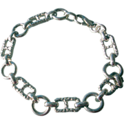 Sterling Silver Textured Rectangular and Smooth Round Links Unisex Bracelet
