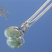 Sterling Silver Moss Agate FOB with Silver Chain NECKLACE