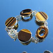 Tiger-Eye Round/Oval Shape Sterling Bracelet