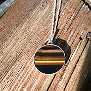Sterling Silver Round Tiger Eye Pendant with Sterling Chain