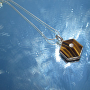 """Sterling Tiger Eye """"Spider Web"""" Shape Pendant with Chain"""