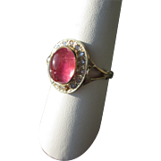 SOLD 9kt Yellow Gold Bubble Gum Pink Tourmaline/Diamond Ladies RIng