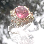 SOLD Sterling/9kt Vivacious Pink Tourmaline Lacey Ladies Ring