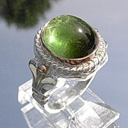 SOLD Silver/9kt Large Green Tourmaline  Ladies Ring